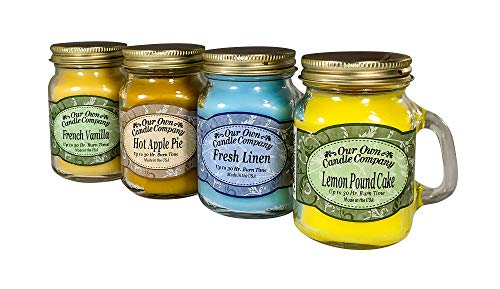 Our Own Candle Company 4 Pack Everyday Assortment Mini Mason Jar Candles - 3.5 Oz French Vanilla, 3.5 Oz Fresh Linen, 3.5 Oz Lemon Poundcake, 3.5 Oz Hot Apple Pie