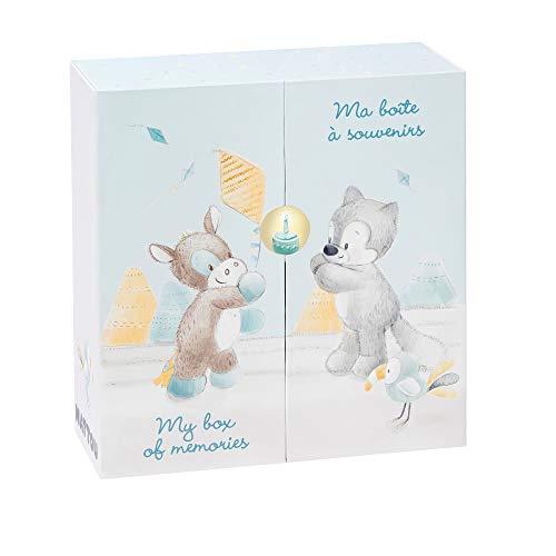 NATTOU En-De-Nl-Nl-Fr Boîte de Rangement pour Bébé/Objets/Souvenirs Tim/Tiloo Bleu 25 x 26, 5 x 9 cm