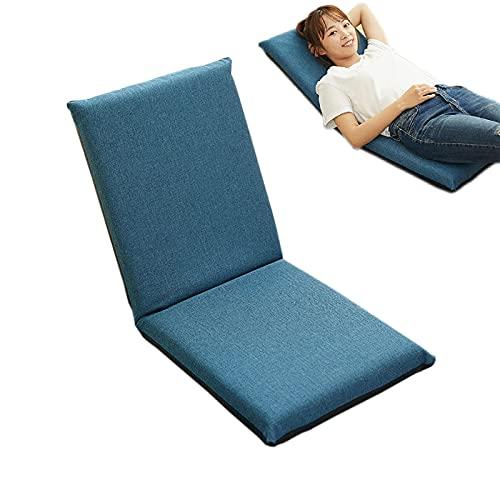 YYWER Sillones de sofá Perezosos con Soporte Trasero, sillas de Piso Plegables Ajustables 5 Posiciones Meditación Sillón de salón para Sala de Estar Ventana de la bahía Blue