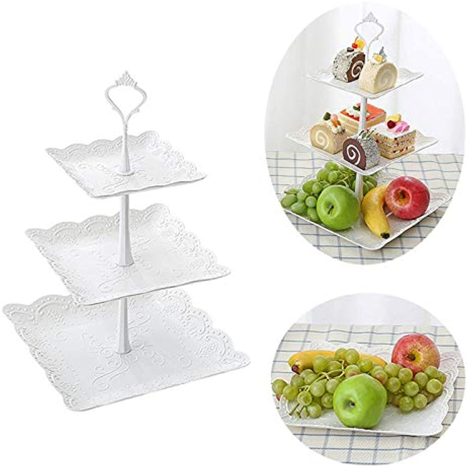 Three Tiers Cake Display Stand Fruit Plate Elegant Afternoon Tea Party Serving Platter Cupcake Dessert Stand for Wedding Decor