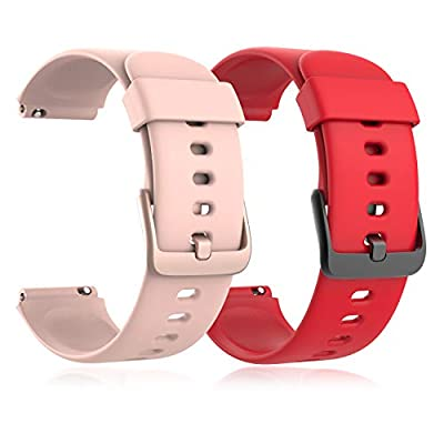 Fitpolo ID205L Smartwatch Replacement Bands Smart Watch Strap (RED + Pink)