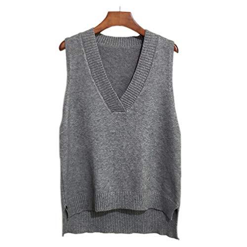Qinju Veste Pull Chaud sans Manche Femme Costume de Cosplay Gilet Scolaire Classique Veste Mignon col V Uniform Scolaire en Tricot (Gris)