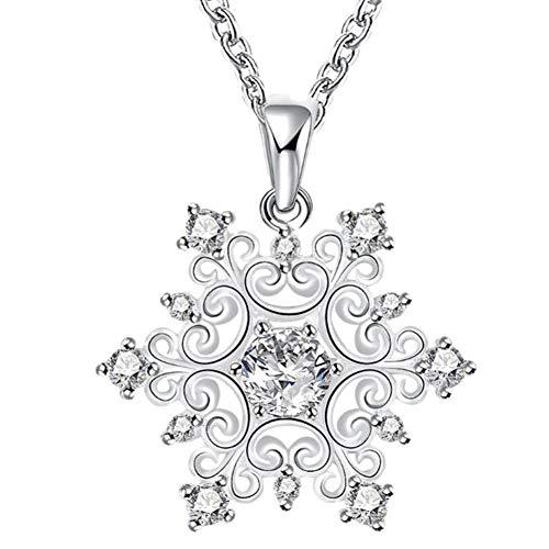 ITVIP - Collar de Mujer con Incrustaciones de circonitas cúbicas, Colgante de Copo de Nieve de Navidad, Collar de cumpleaños, Regalo de San Valentín