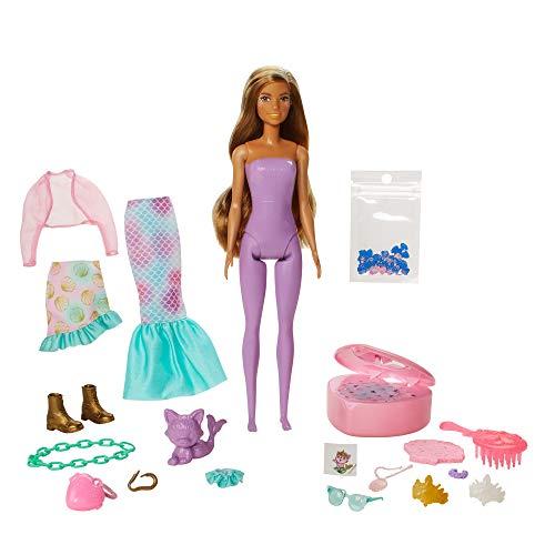 Barbie Color Reveal coffret Sirène Fantastique, poupée avec 25 éléments surprises, 16 sachets mystères, modèle aléatoire, jouet pour enfant, GXV93