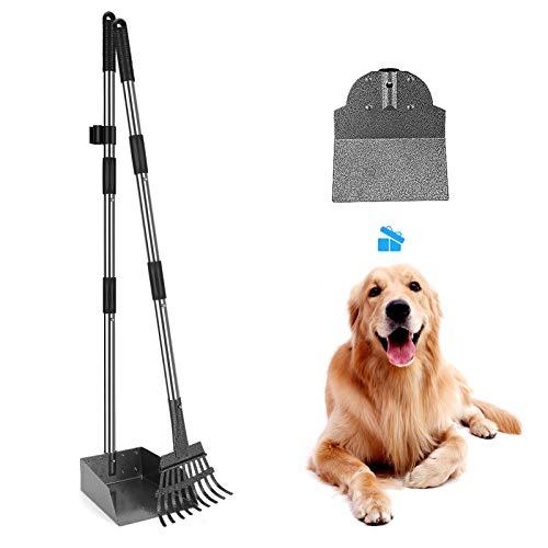 Bamda Hundekotschaufel und Metall Rechen, mit Verstellbarer Länge 93/96cm Langer Griff Spaten
