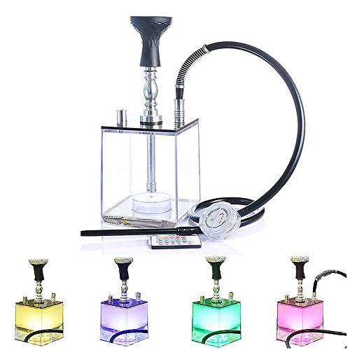 FLL-AD Shisha Set Acryl Wasserpfeife Kit mit LED-Licht, Silikonschale und Schlauch,Tragbarer Holzkohlenhalter Set Bestnote Shisha Square Durable + Zubehör - Ohne Nikotin