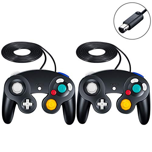 SogYupk 2 Pack Controller Replacement for Gamecube Controller,Wired Controllers Classic Gamepad compatible with Nintendo and Wii Console Game Remote(Black 2 pcs)