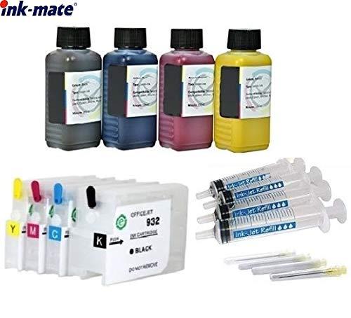Hervulbare cartridges HP 932 + 933 met Auto Reset Chips + 400 ml Ink-Mate Premium navulinkt voor OfficeJet 6100 e-Printer, 6600 e-All-in-One, 6700 Premium, 7110, 7510, 7610, 7612