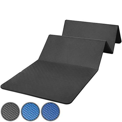 POWRX Tappetino Fitness Pieghevole 180 x 60 x 1,5 cm - Tappeto Palestra PVC Free Ideale per Yoga, Pilates e Ginnastica - Extra Morbido e Spesso - Ecocompatibile + PDF Workout (Nero)