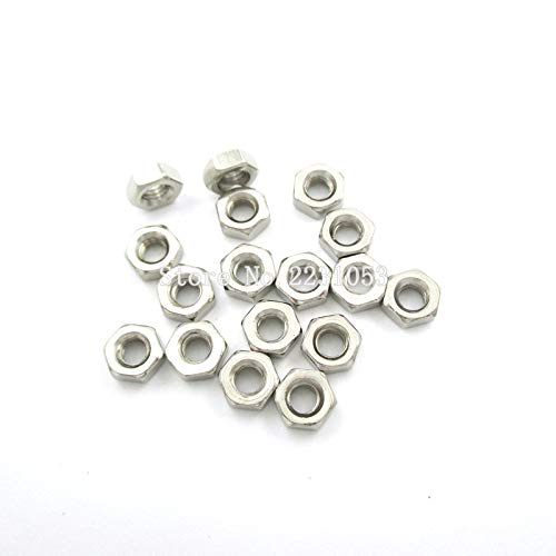 100 unids/lote M3 tuerca hexagonal de acero inoxidable tuercas hexagonales traje de rosca métrica para tornillos pernos-predeterminado
