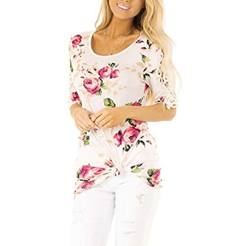 Camiseta de Encaje Mujeres de la Moda Manga Corta Flores Impresión Floral Informal Camiseta Tops