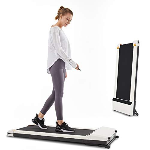 LONTEK Schreibtisch Laufband für Zuhause, Mini Elektrisches Walking Pad bis 6 km/h, mit Sport-App, Fernbedienung und LED-Display, Treadmill mit leisem Motor, Weiß/Schwarz