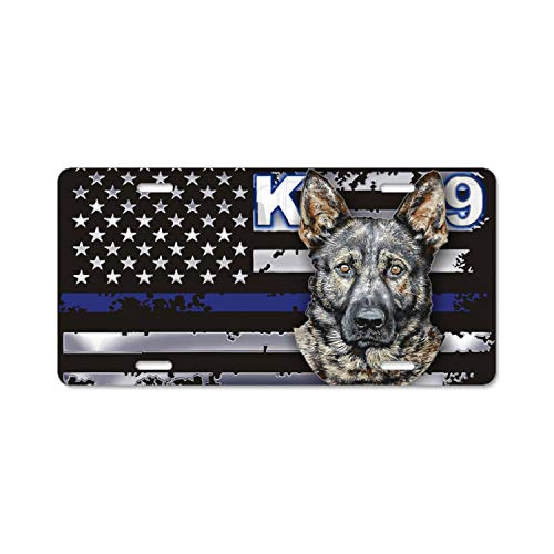 nadoab Thin Blue Line German Shepherd License Plate Holder - Alumina License Plate Frame, License Tag Holder