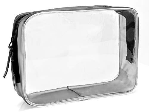 MyGadget Neceser Transparente Impermeable de Viaje para Avión - Set de Equipaje de Mano - Bolsa de Cosméticos, Porta Liquidos, Cremas, Champú - Talla M