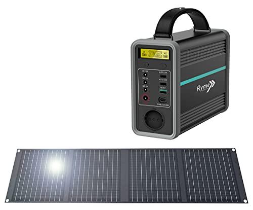 Estación de energía Portátil 320Wh/100000mAh con Kit de Placas 100 W Monocristalino - Batería LiFePO4, salidas AC/DC/USB-C/ cargador de coche para Camping, Caravanas, Camper