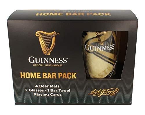 Paquete oficial de bar de Guinness Home con alfombras, gafas, toalla y tarjetas.