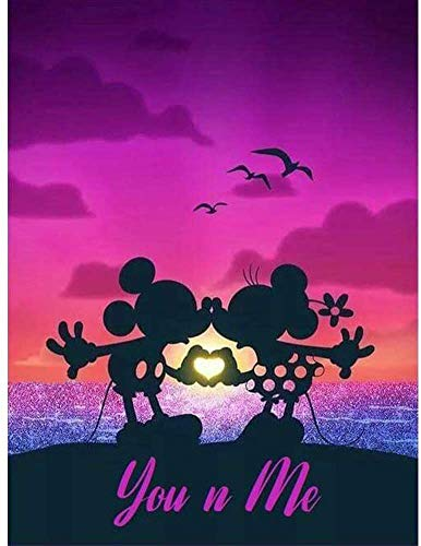 Kit digital de pintura de diamante 5D, kit de pintura artística, artesanías, punto de cruz, juegos de rompecabezas, utilizado para decoración de pared de 30,5 x 40,6 cm (Mickey, Minnie)