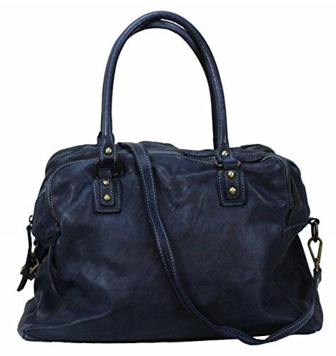 BOZANA Bag Lue blue Italy Designer Messenger Damen Ledertasche Handtasche Schultertasche Tasche Leder Shopper Neu