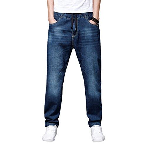 Xinwcang Vaqueros Slim para Hombre,Moderno y Casual Stretch Jeans Skinny Tramo Denim Pantalones Azul Oscuro 6XL