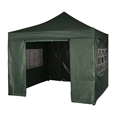 SANHENG Gazebo With Sides, Waterproof Gazebo with 4 Side Panels, Fully Waterproof, Party Tent Marquee Awning with Powder Coated Steel Frame (3x3m,Green)
