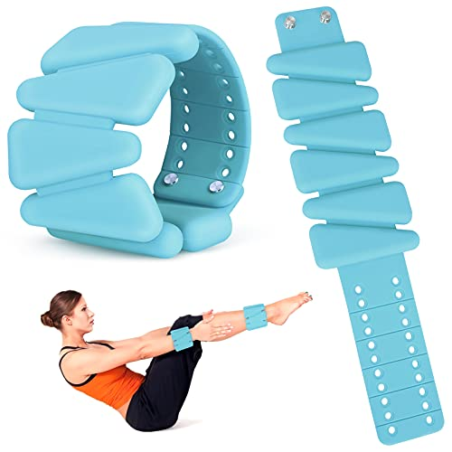 BestFire - Pesas de muñeca ajustables para mujer, 2 piezas de pulseras de silicona con correa para la muñeca, pesas de tobillo para yoga, natación, ejercicios, 1 libra, azul