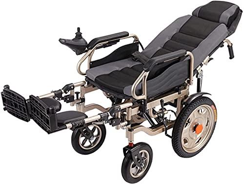 Silla de ruedas eléctrica con reposacabezas, respaldo alto, absorción de golpes reclinables completa, silla de ruedas eléctrica plegable, andador para ancianos y discapacitados,Gris