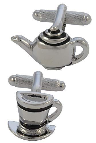 COLLAR AND CUFFS LONDON - HOCHWERTIGE Manschettenknöpfe mit Geschenk Box - Teekanne und Tasse und Untertasse - Tee Getränk - Stilvolle Messing - Silber und Schwarz Farben