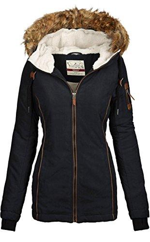 Urban Surface warme Damen Winter Jacke Parka Mantel Winterjacke Teddyfell B505 [B505-Schwarz-Gr.M]