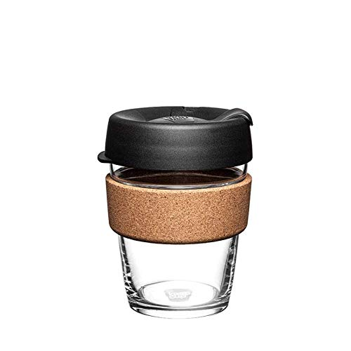 KeepCup BCBLA12 Cork, Reusable Glass Cup, Medium 12oz | 340mls, Black Brew Kork, wiederverwendbare Glasbecher, Becher aus gehärtetem Glas mit Korkband, Schwarz