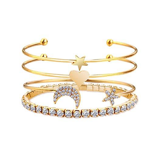Armband Armreif Armkette Damen Modeschmuck Gold Farbe Liebe Herz Mond Stern Herz Kristall Armband Party Schmuck Armband Set 82774