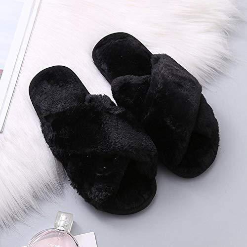 B/H Pantuflas de invierno para mujer, para interior de invierno, de felpa, para el dormitorio del hogar, color negro, 40-41, zapatillas de espuma viscoelástica para hombre y mujer