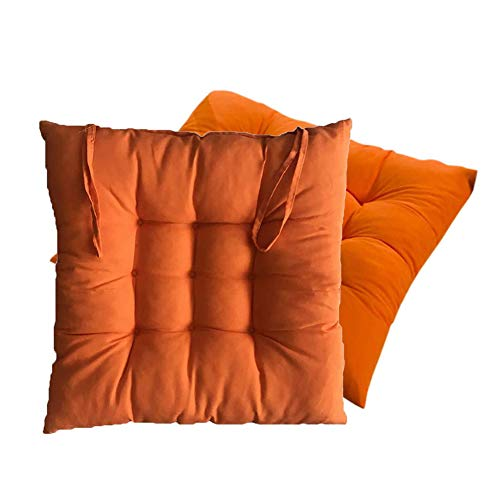 XNDCYX Chair Cushion Indoor/Outdoor, Chair Pad Cushion Seat Cushions Thickened Square Filled Wicker Seat Cushions for Patio Home Office Dinning Chair, 40X40x5 cm,Orange,4 Pack