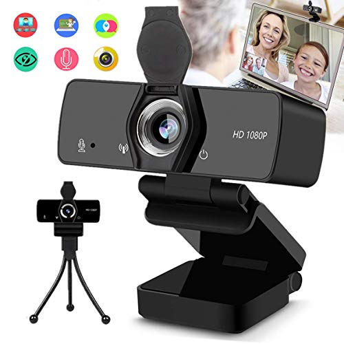 Webcam, 1080P HD Web Camera with Microphone for Desktop Computer Laptop, PC Streaming USB Camera 110-Degree Wide Angle with Privacy Cover Tripod Mic for Study, Conference, Video Calling, Gaming