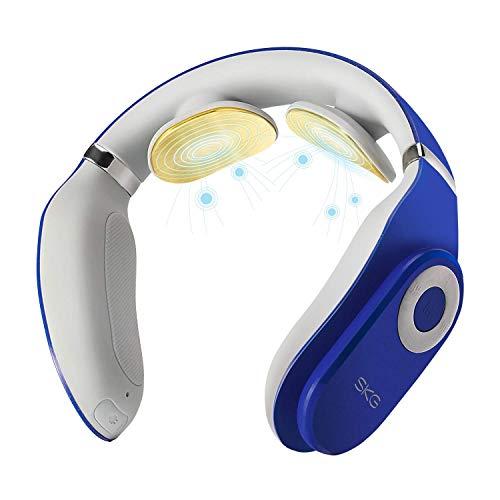 SKG K4 Smart Neck Massager with Heat Portable Massage Equipment with Remote Control Cordless Design (Blue)