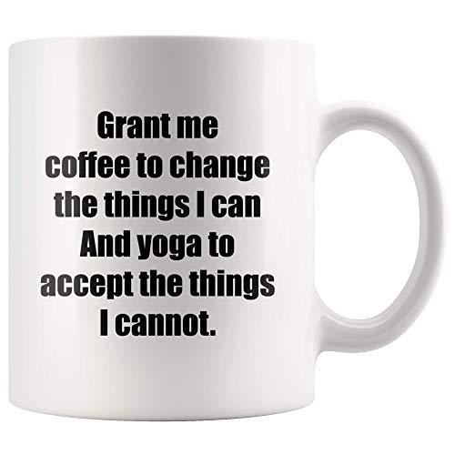 WTOMUG Grant Me Coffee To Change And Yoga To Accept Self-Care Meditation And Spiritual Gifts For Women Yoga Statement Coffee Mug 11 oz