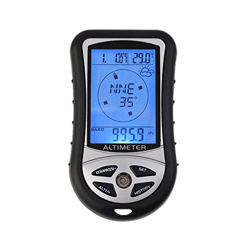 GuDoQi Outdoor Wandern Camping 8 in 1 Digital LCD Kompass Altimeter Barometer Thermometer Temperatur Uhr Kalender Navigations Werkzeuge