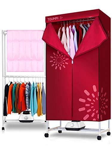 ZHAOJHGJ Haushaltstrockner, Schnell trocknende Kleidung Dryersilent Energiesparender Doppelschicht-Großraum-mechanischer Trockner (1200W High Power Modern Red)