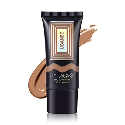 UCANBE Matte Pro Longwear Liquid Foundation for Combination/Oily Skin, Waterproof Sweat-proof Transfer-resistant Face Foundation Makeup, with Medium-Full Coverage, Oil-Free, Rich Golden 1 fl. oz.