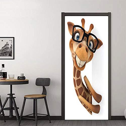 Doorlv Wandtattoos & Wandbilder 3D-Brille Giraffe Imitation Tür Aufkleber Wohnzimmer Schlafzimmer Tür Renovierung Dekorative Kreative Selbstklebende Papier