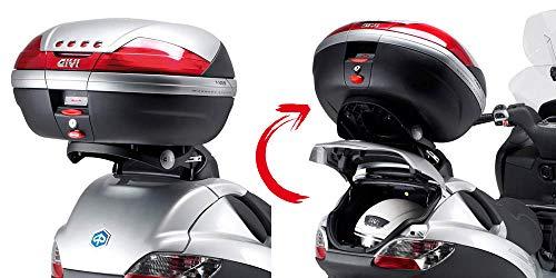 Givi SR134 Topcase-Träger klappbar Monokey Koffer mit M5 Platte/Max. Zuladung 6 kg Piaggio MP3 125-250-400-500 /LT Bj. 08