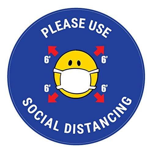 Decalcomania di sicurezza Vinly Decalcomania Si prega di utilizzare il social distanza con maschera Emoji - Blu - Insegna per pavimento 12x12 pollici Prevenire Covid 19