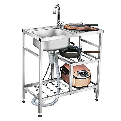 Lavello a mensola da Cucina in Acciaio Inox con Filtro, scolapiatti e Piano di Lavoro, lavello Mobile Indipendente