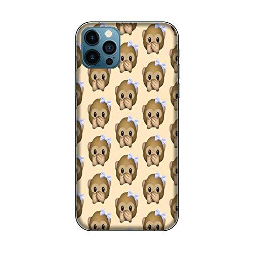 Funda iPhone 12 Carcasa Compatible para Apple iPhone 12 Whatsapp Emoticon de Mono pequeño no Habla/Dorso de Vidrio con Goma en los Lados/TPU Antideslizante Antideslizante Antiarañazos Resistente