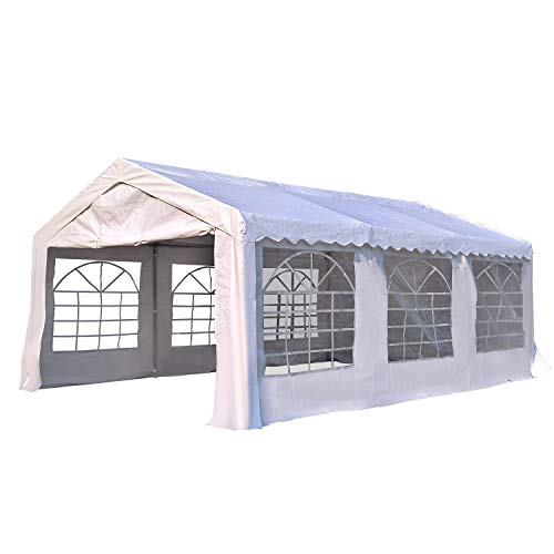 Outsunny Garden Gazebo Marquee Party Tent Wedding Portable Garage Carport shelter Car Canopy Outdoor Heavy Duty Steel Frame Waterproof Rot Resistant (6m x 4 m)