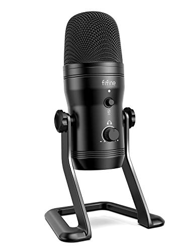 FIFINE USB Studio Recording Microphone Computer Podcast Mic for PC, PS4, Mac with Mute Button&Monitor Headphone Jack, Four Pickup Patterns for Vocals,YouTube,Streaming,Gaming,ASMR,Zoom-Class(K690)