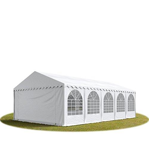 Festzelt XXL Partyzelt 6x10m, hochwertige 550g/m² feuersichere PVC Plane nach DIN in weiß, 100% wasserdicht, vollverzinkte Stahlkonstruktion mit Verbolzung, Seitenhöhe ca. 2,6 m