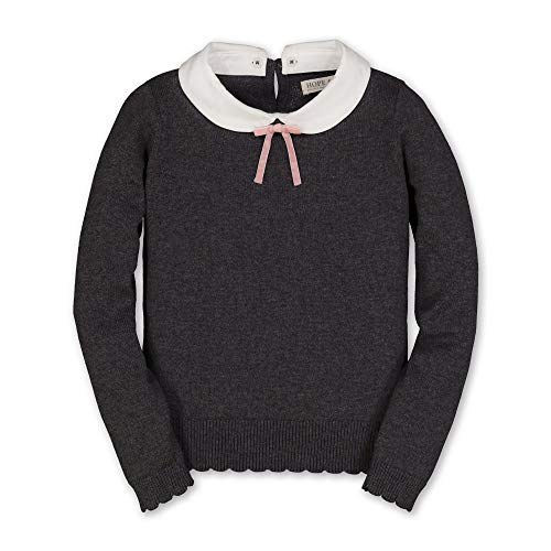 Hope & Henry Girls' French Look Long Sleeve Sweater with Detachable Peter Pan Collar and Velvet Bow Charcoal Gray Heather