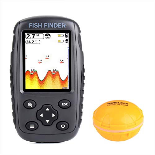 OVETOUR Portable Rechargeable Wireless Fish Finder Transducer Sonar Sensor Fishfinder Depth Locator with Fish Size, Water Temperature, Bottom Contour, Color HD Display for Kayak Boat Ice Fishing