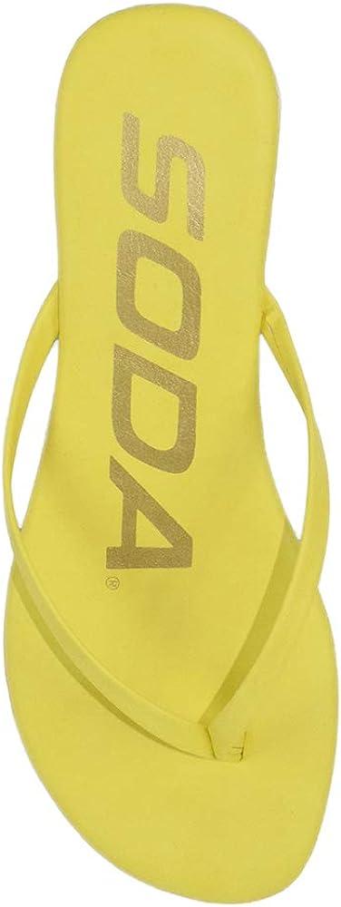 Soda Women/'s Seashell Poolside Thong Flip-Flop Flat Sandals