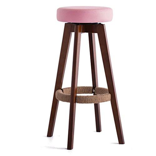Taburete Bar Bar Alto/para hogar Bar de Madera Maciza/Giratorio European Chair -by BOBE Shop (Color : Pink)